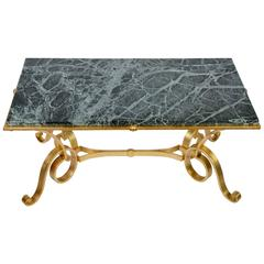 Coffee Table in Gold Wrought Iron and Marble