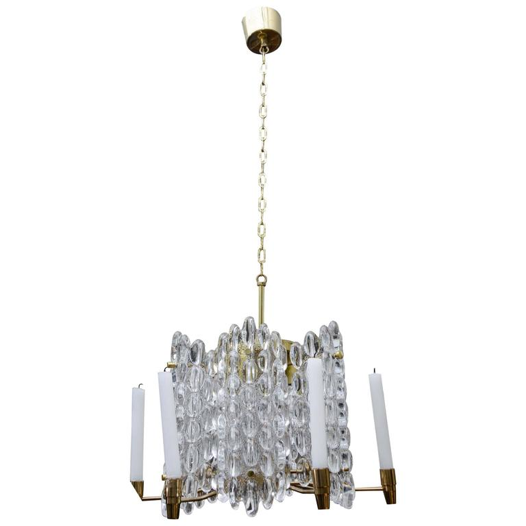 Brass and Crystal Chandelier with Both Electrical and Candles Light