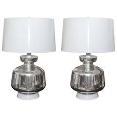Spectacular Pair of Mid-Century Mercury Glass Lamps with Custom Shades
