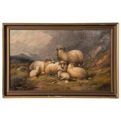 Antique 19th Century Original English Oil Painting Landscape with Sheep