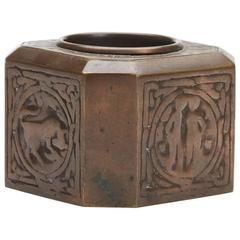 Tiffany Studios Bronze Zodiac Inkwell, circa 1910