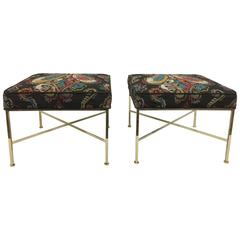 "Paul McCobb ""X"" Base Brass Stools in Paisley"