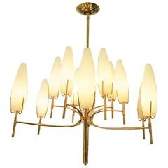 Italian Brass Twelve-Arm Chandelier with Conical Frosted Shades