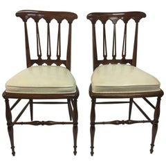 Ponti Inspired Vintage Italian Side chairs, Pair