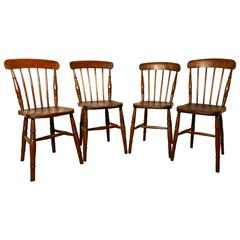 Set of Four Victorian Elm Seated Stick Back Windsor Kitchen Dining Chairs