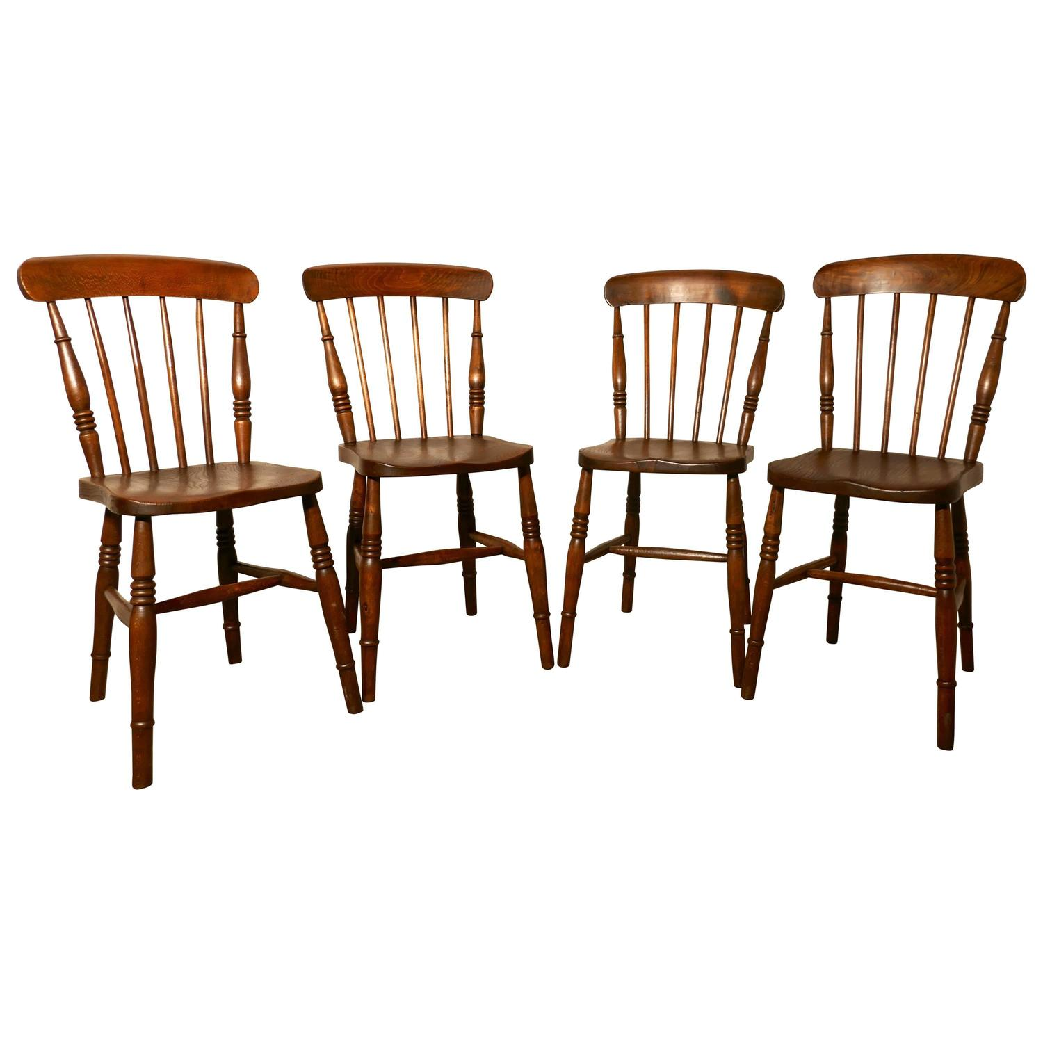 Set of Four Victorian Elm Seated Stick Back Windsor Kitchen Dining