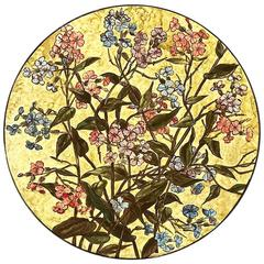 Earthenware John Bennett Plaque with Pink and Blue Phlox