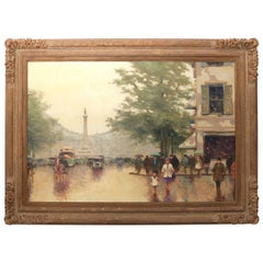 """Mid-Century, Romantic Style """"Parisian Street Scene"""" Oil on Canvas"""
