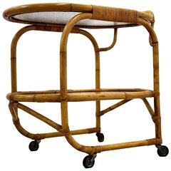 Bamboo Serving Trolley Mid century Modern