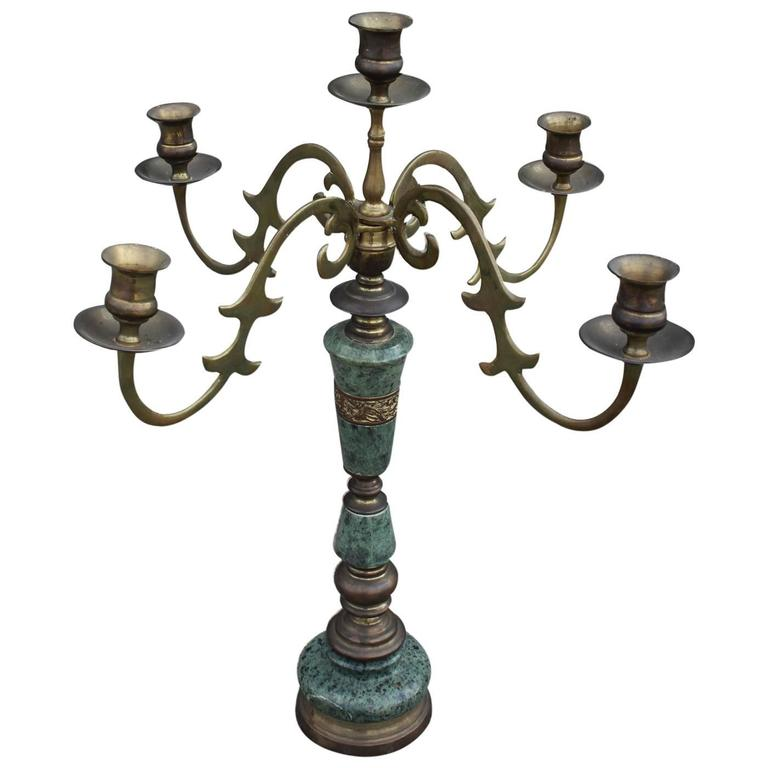 Modern Green Marble and Brass Candelabra For Sale at 1stdibs - photo#5