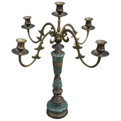Modern Green Marble and Brass Candelabra
