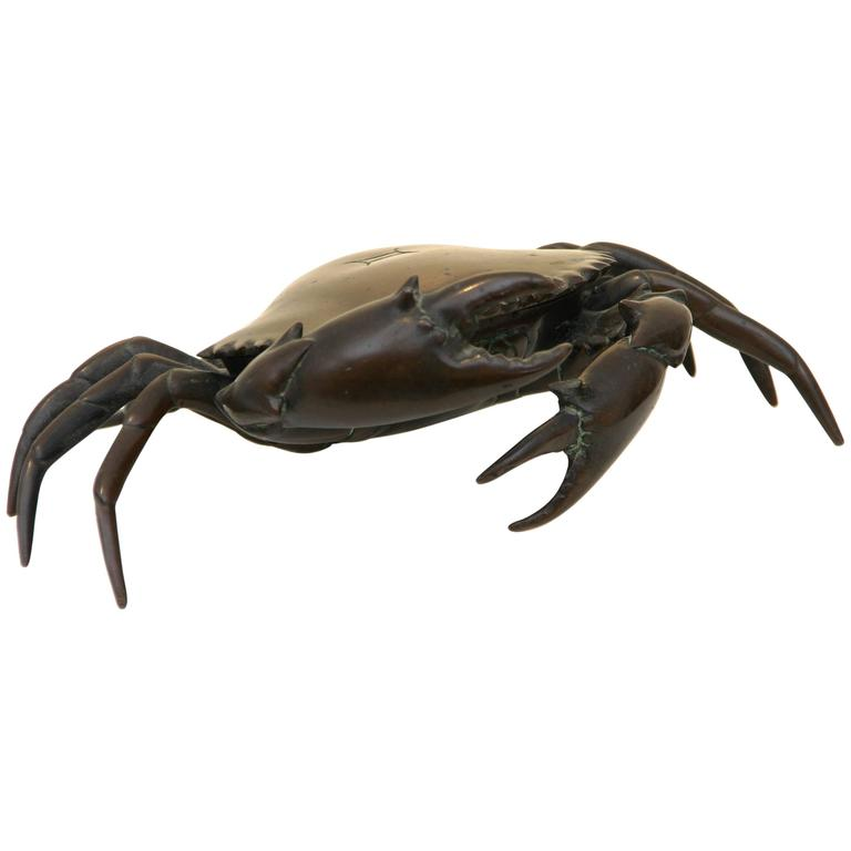 Continental Bronze Crab Form Inkstand