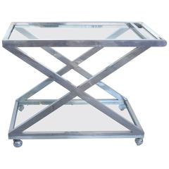 Mid-Century Modern Nickel-Plated Tea Trolley or Bar Cart