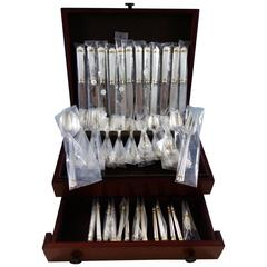 Aria Gold by Christofle Sterling Silver Flatware Set Service 75 Pcs Dinner New