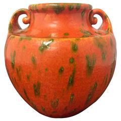 Mid-Century Ceramic Vase with Handles in Heavy Orange Glaze