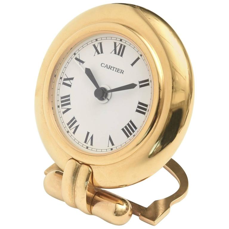 Cartier 24-Karat Gold-Plated Travel, Desk or Nightstand Quartz Clock / SAT.SALE For Sale