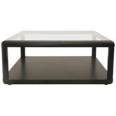 wodden black square Model T114 Coffee Table by Centro Progetti Tecno, 1975