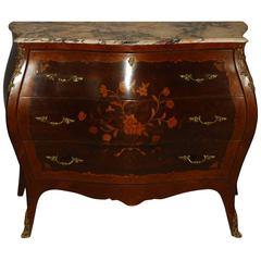 Louis XV Style Marquetry Inlaid Marble Top Bombe Commode