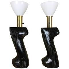 Modeline Yasha Heifetz Style Sculptural Table Lamps Having Cerused Oak Bases