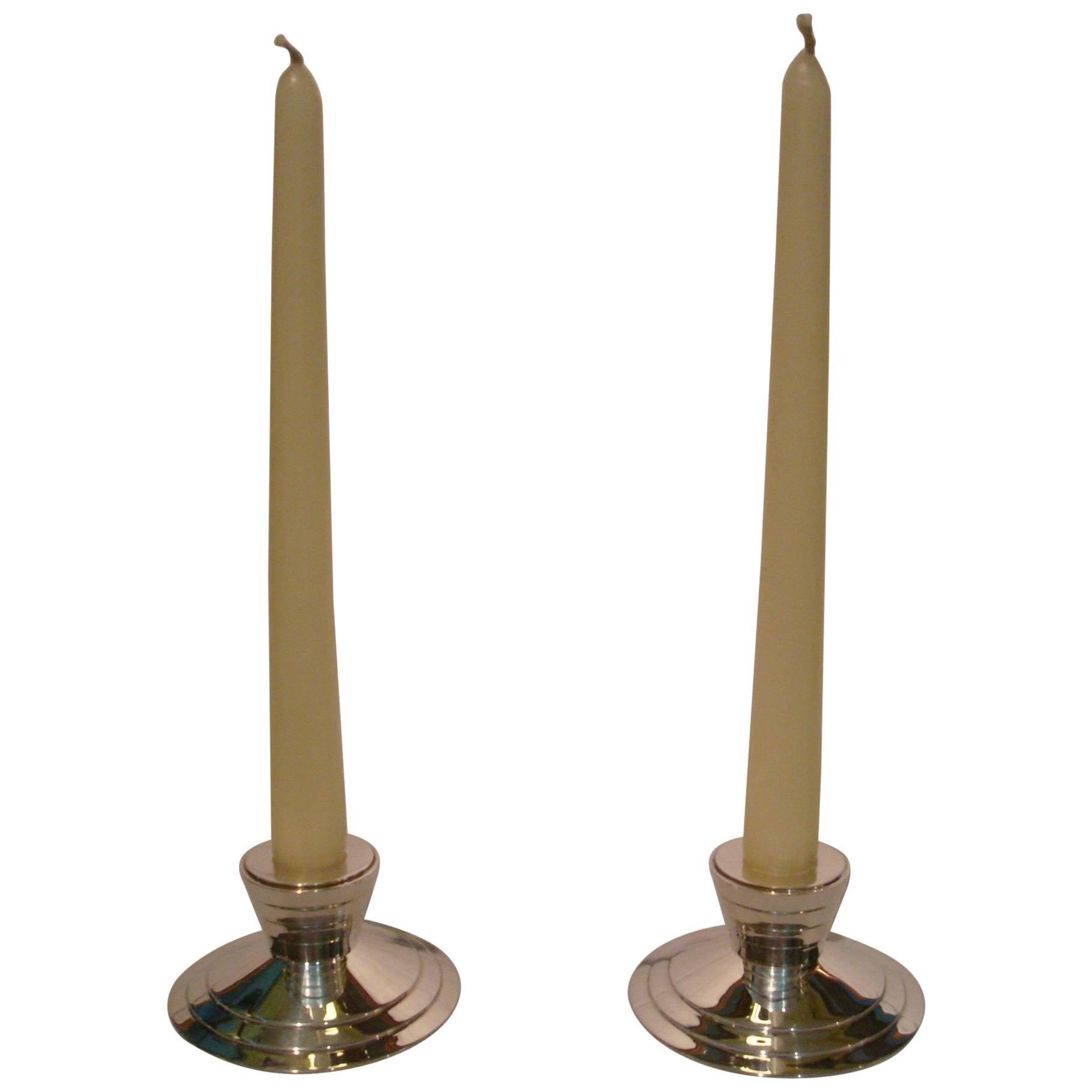 Christofle Art Deco Design Candelabra Candle Holder, France, 1980s