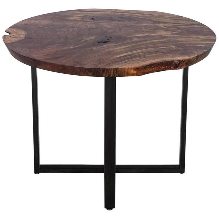 Bowen Cafe Table by Uhuru Design, Claro Walnut Slab Top and Blacked Steel Base
