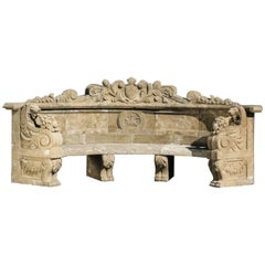 Neoclassical Style Marble Garden Bench