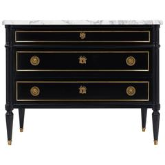 19th Century Ebonized Louis XVI Style French Chest of Drawers fw