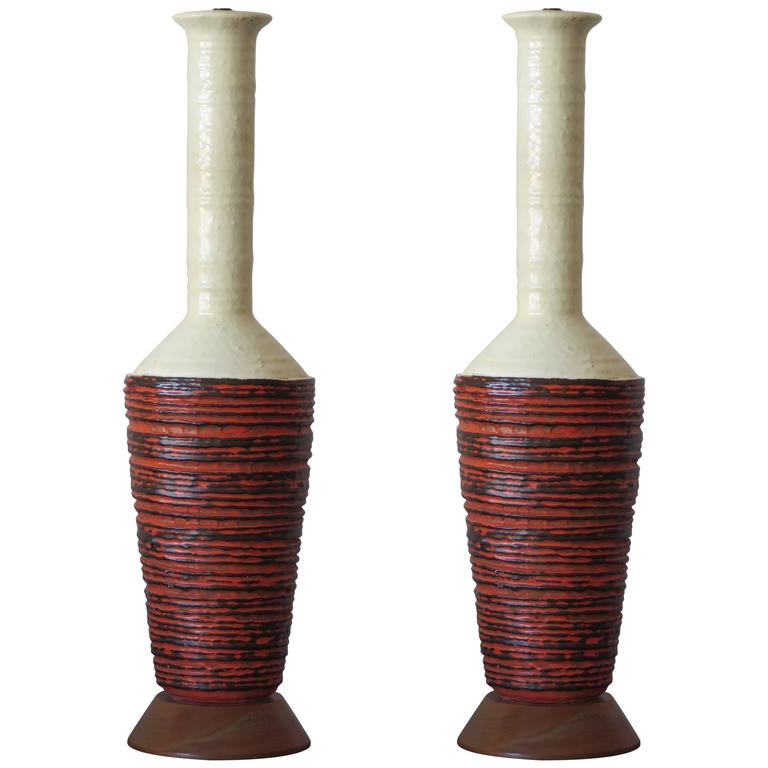 Pair of Marcello Fantoni Ceramic Lamps 1
