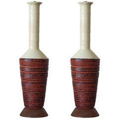 Pair of Large Scale Marcello Fantoni Ceramic Lamps