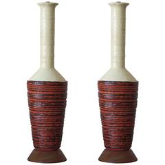 Pair of Marcello Fantoni Ceramic Lamps
