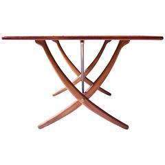 Vintage Hans Wegner AT-304 Sabre-Leg Dining Table in Teak, Oak & Brass, 1955