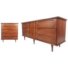 Unique Mid-Century Modern Bedroom Set by American of Martinsville