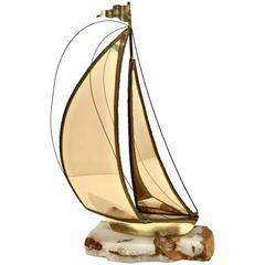 Mid-Century Brutalist Brass Sailboat Sculpture by DeMott