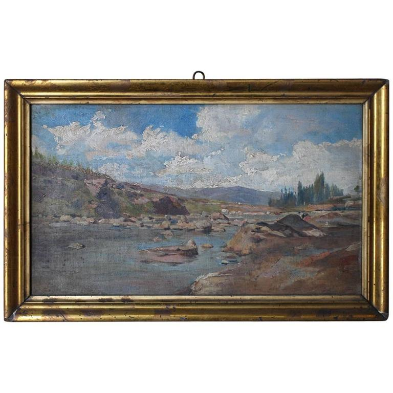 19th Century Oil on Canvas Landscape Painting For Sale
