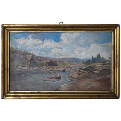 19th Century Oil on Canvas Landscape Painting