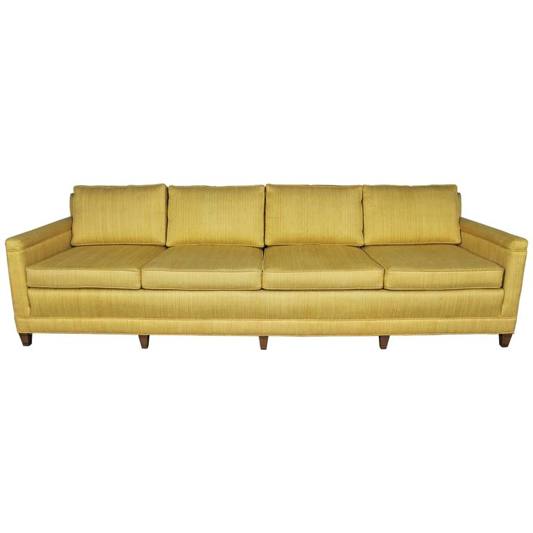 Vintage Mid Century Four Cushion Extra Long Lawson Style Golden Yellow Sofa  For Sale