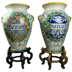 """Pair of Vintage Italian Deruta Majolica Pottery Sage """"Salvia"""" Jars with Stands"""
