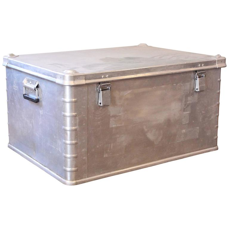 Vintage Industrial Aluminium Metal Box Storage Trunk