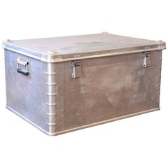 Vintage Industrial Aluminium Metal Box Storage Trunk Coffee Table Chest