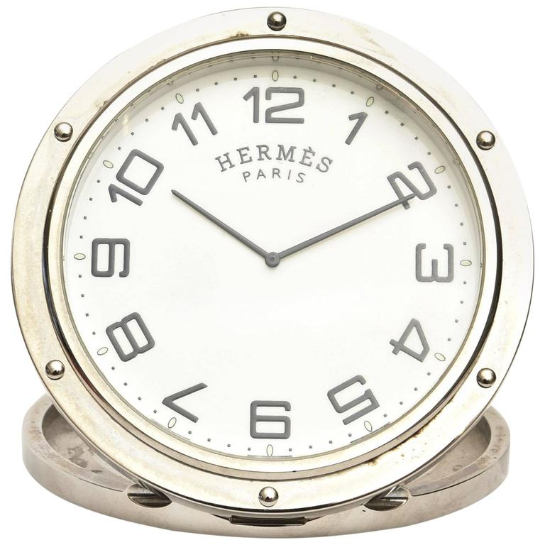 Hermes Stainless Steel Pendulette Clipper Travel or Desk Clock/  HOLIDAY SALE For Sale