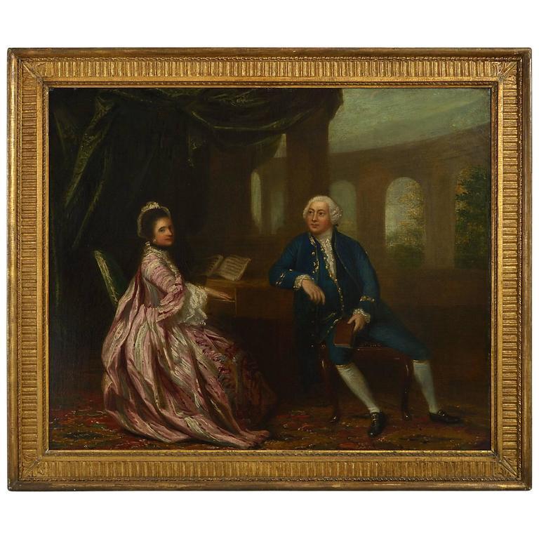 18th Century Double Portrait of married couple, Follower of Sir Joshua Reynolds
