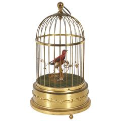 Karl Griesbaum German Brass Singing Bird Cage Music Box, Marked Kg Ken-D