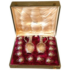 Rare French Sterling Silver 18-carat Gold Liquor Set, Decanter Pair, Glasses