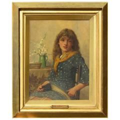 British Artist John Scott Oil on Board, Young Seamstress