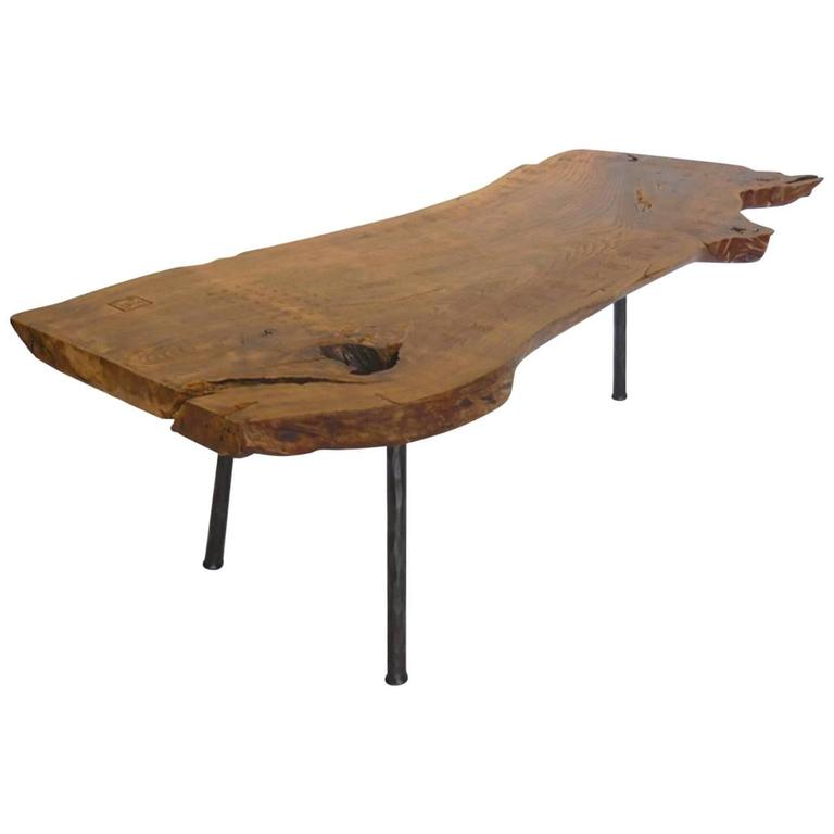 Live edge wood slab coffee table or bench with three legs at 1stdibs Live wood coffee table
