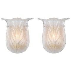 Pair of Tulip Shaped Murano Glass Sconces