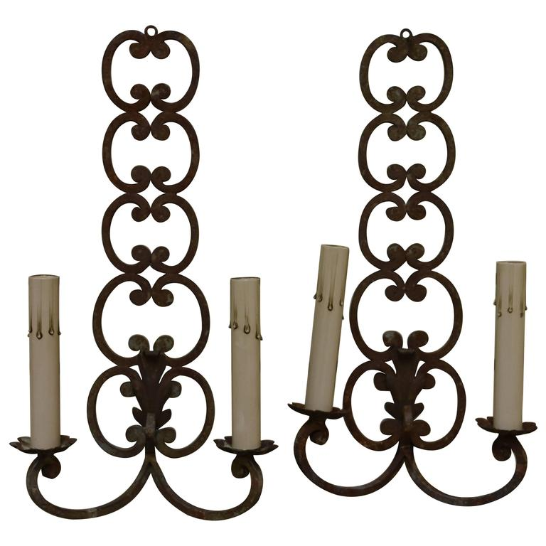 Pair of Early 20th Century French Iron Sconces For Sale