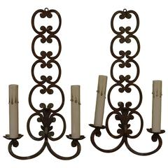 Pair of Early 20th Century French Iron Sconces