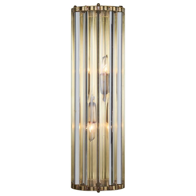 Murano Glass Rod and Brass Single Sconce