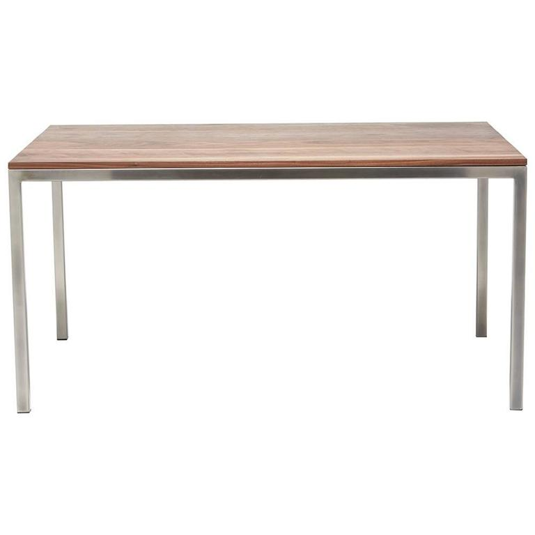 Walnut and Antique Nickel Small Dining Table For Sale